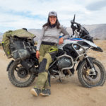Cassie Maier with her BMW R1250GS on set in Borrego Springs, CA